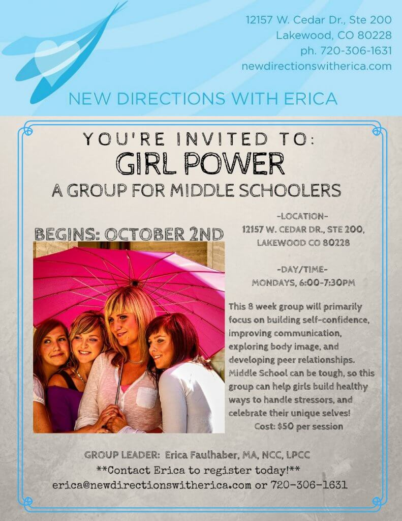 NDWE Girl Power Group Flyer 791x1024 Lakewood CO Mental Health